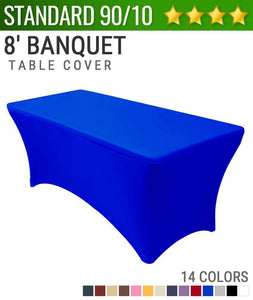 "Standard Spandex 8' Banquet Table Cover (30""x96"")"
