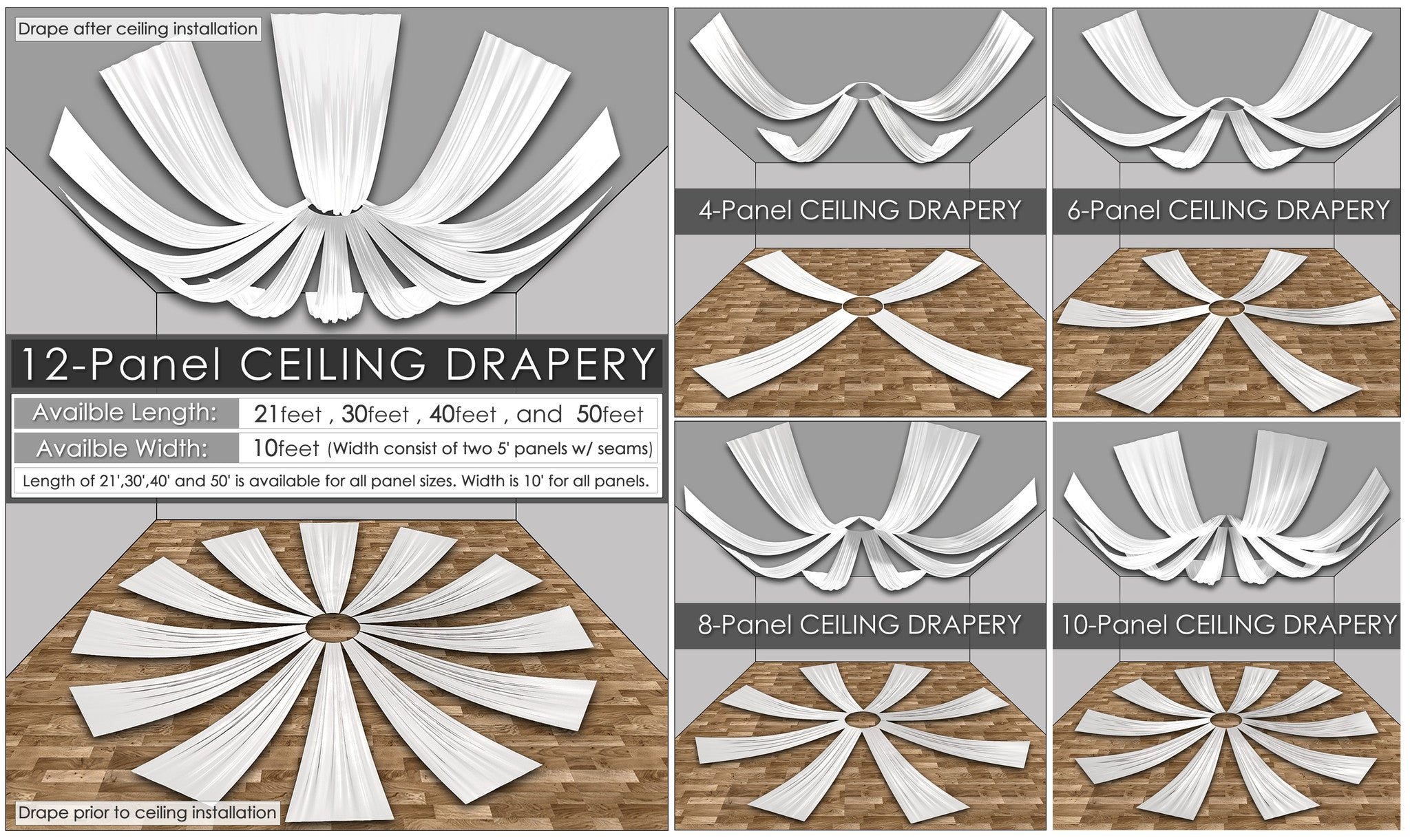 Polyester (Poplin) Ceiling Drape Collection