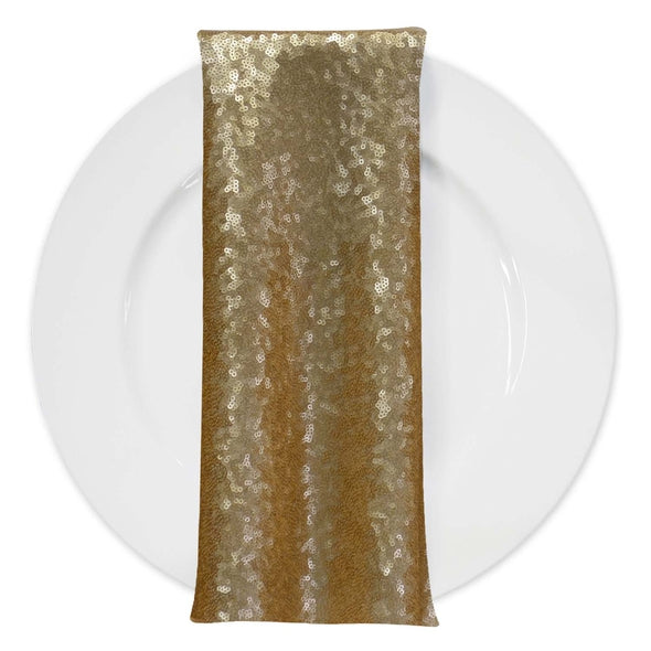 Glitz Sequins (w/ Poly Lining) Table Napkin in Antique Gold