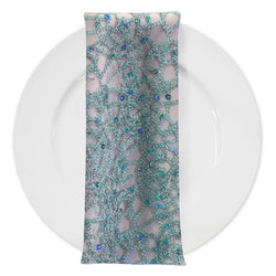 Flower Chain Lace (w/ Poly Lining) Table Napkin in Aqua and Silver