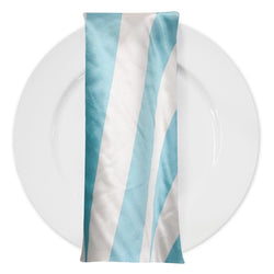 "2"" Satin Stripe Table Napkin in White and Aqua"