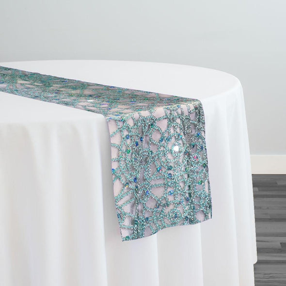 Flower Chain Lace Table Runner in Aqua and Silver