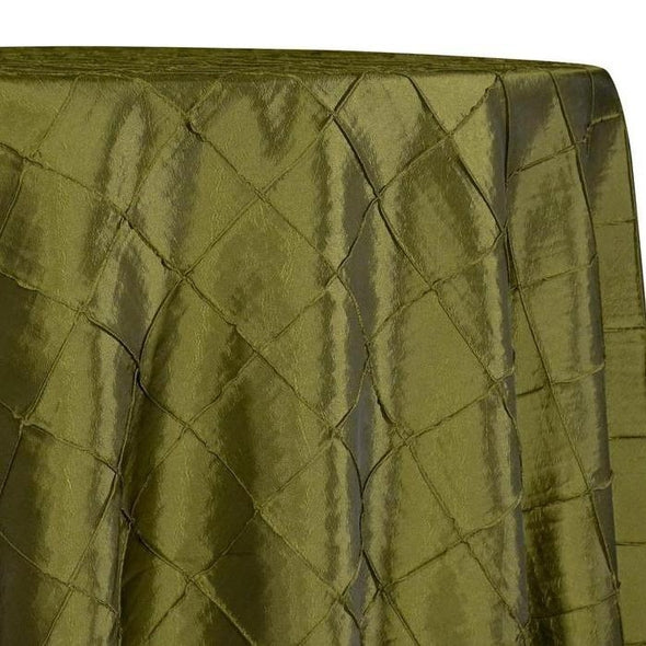 "2"" Pintuck Taffeta Table Linens in Army Green 019"