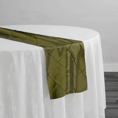 "2"" Pintuck Taffeta Table Runner in Army Green 019"