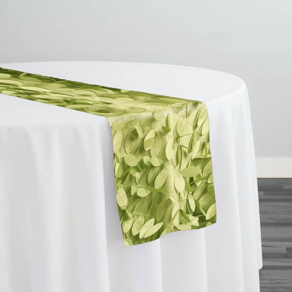 Leaf Hanging Taffeta Table Runner in Avocado
