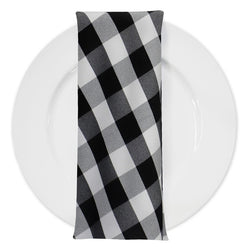 Polyester Checker (Gingham) Table Napkin in Black