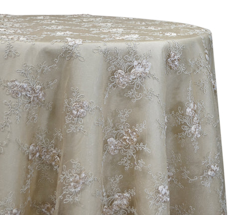 "Baby Rose Embroidery - Champagne 120"" Round Wedding Tablecloth"