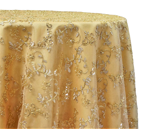 "Basil Leaf Embroidery - Gold 120"" Round Wedding Tablecloth"
