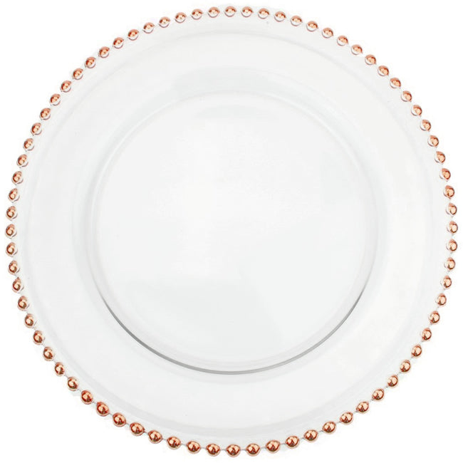 Beaded - Glass Charger Plate in Rose Gold