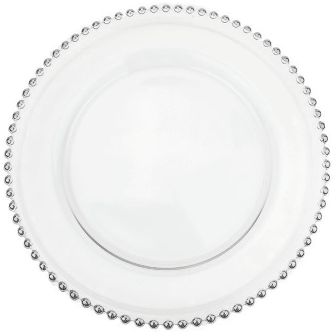 Beaded - Glass Charger Plate in Silver