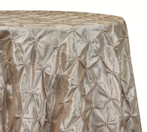 "Belly Button (Pinwheel) - Champagne 120"" Round Wedding Tablecloth"