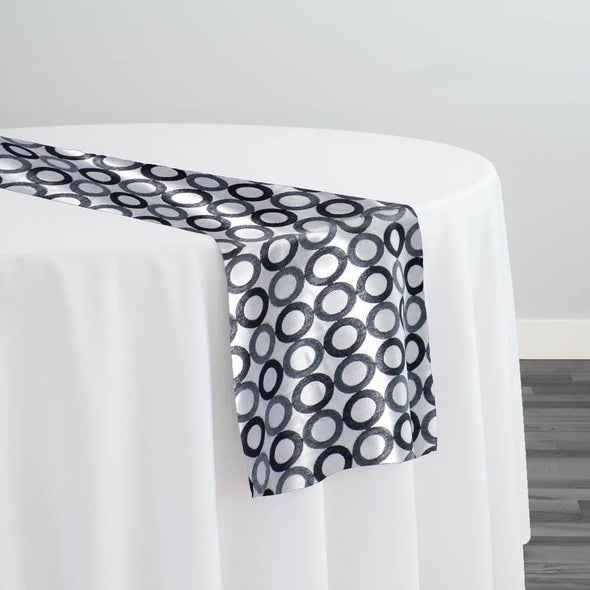 Mosaic Jacquard (Reversible) Table Runner in Black and Silver