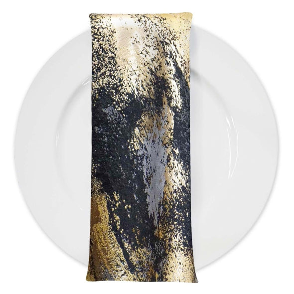 Element Jacquard Table Napkins in Black and Gold