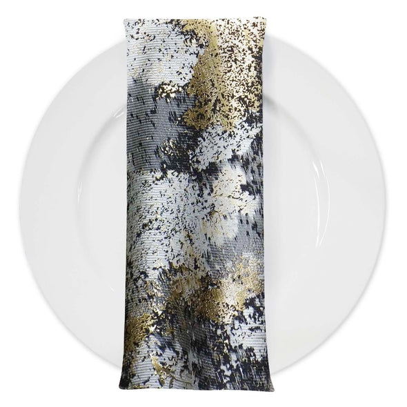 Cascade Jacquard Table Napkin in Black and Gold