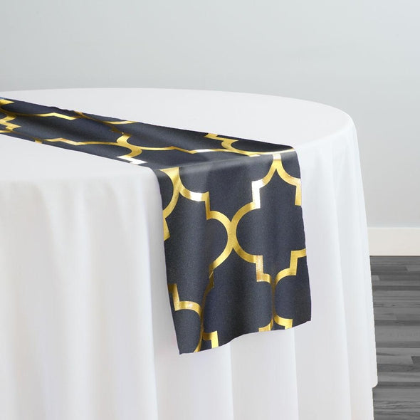 Gatsby (Metallic Print) Table Runner in Black and Gold