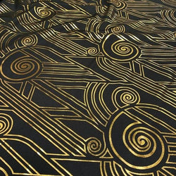 Luxor (Metallic Print) Table Linen in Black and Gold