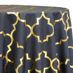 Gatsby (Metallic Print) Table Linen in Black and Gold