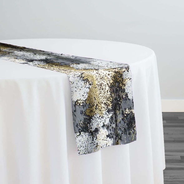 Cascade Jacquard Table Runner in Black and Gold