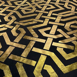 Majestic (Metallic Print) Table Linen in Black and Gold