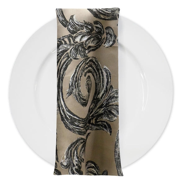 Florence Jacquard Table Napkin in Black and Grey