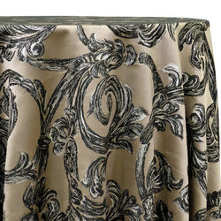 Florence Jacquard Table Linen in Black and Grey
