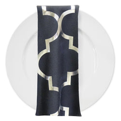 Gatsby (Metallic Print) Table Napkin in Black and Silver