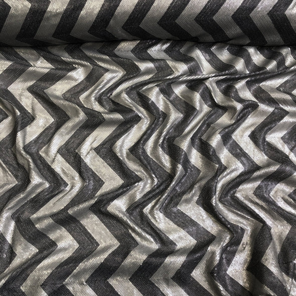Chevron Sequins Table Linen in Black and Silver