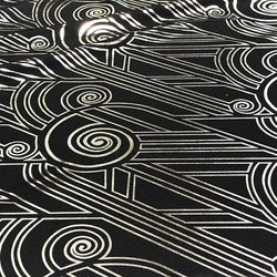 Luxor (Metallic Print) Table Linen in Black and Silver