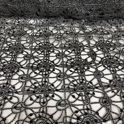 Flower Chain Lace (w/ Poly Lining) Table Napkin in Black and Silver