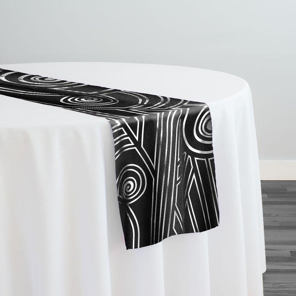 Luxor (Metallic Print) Table Runner in Black and Silver