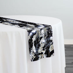 Two-Tone Sequins Table Runner in Black and Silver