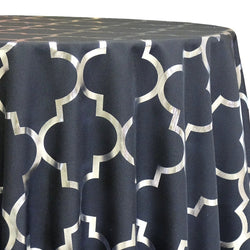Gatsby (Metallic Print) Table Linen in Black and Silver