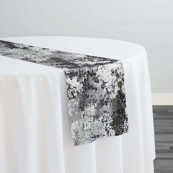 Cascade Jacquard Table Runner in Black and Silver