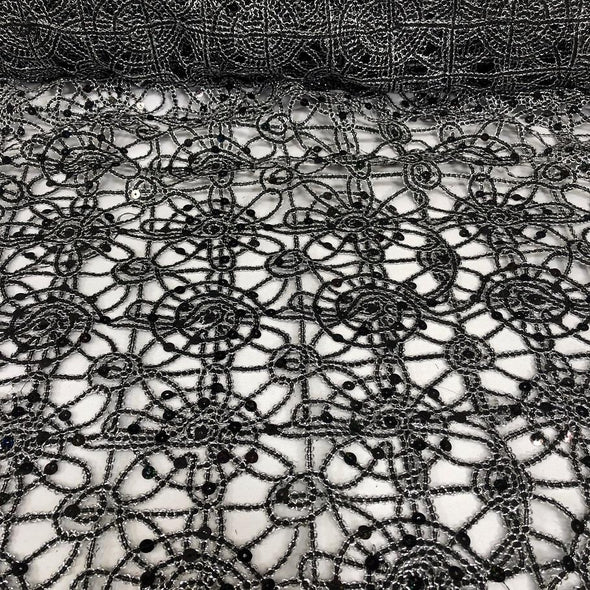 Flower Chain Lace Table Runner in Black and Silver