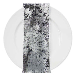 Cascade Jacquard Table Napkin in Black and Silver