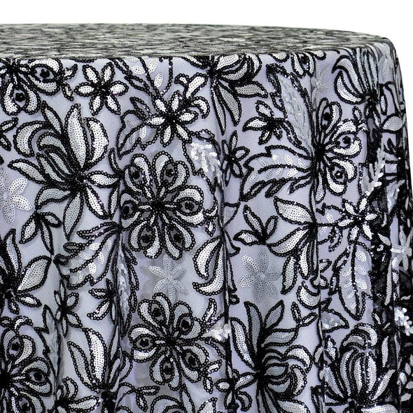 Starlight Sequins Table Linen in Black and Silver