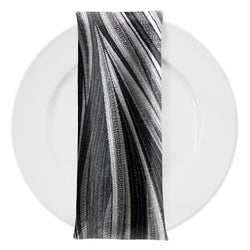 Allure Jacquard Table Napkin in Black and Silver