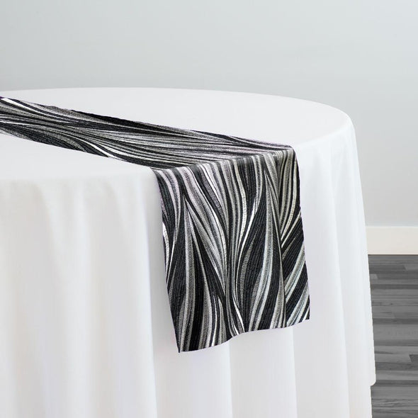 Allure Jacquard Table Runner in Black and Silver