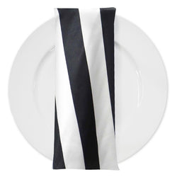 "2"" Satin Stripe Table Napkin in Black and White"