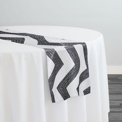 Chevron Sequins Table Runner in Black and White