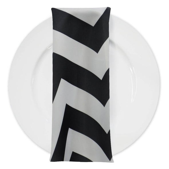 Chevron Print Table Napkin in Black and White