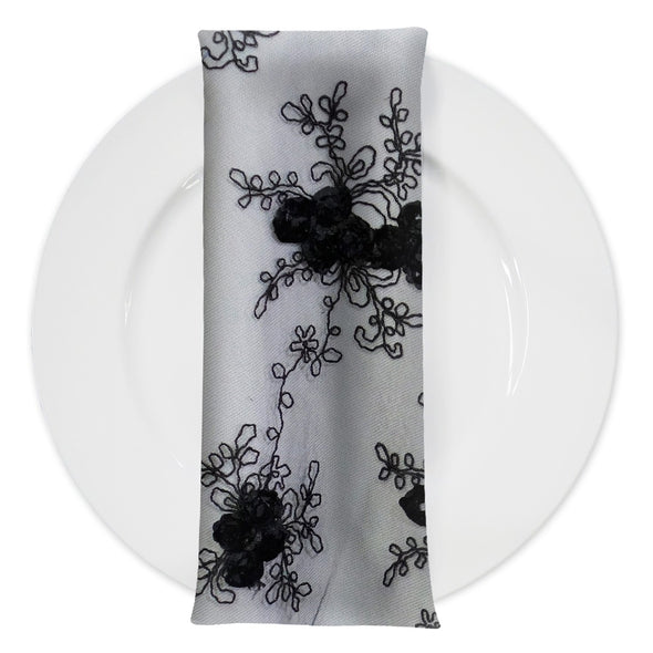 Baby Rose Embroidery (w/ Poly Lining) Table Napkin in Black