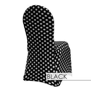 100pcs - Polka Dot Spandex Print Chair Covers - White on Black