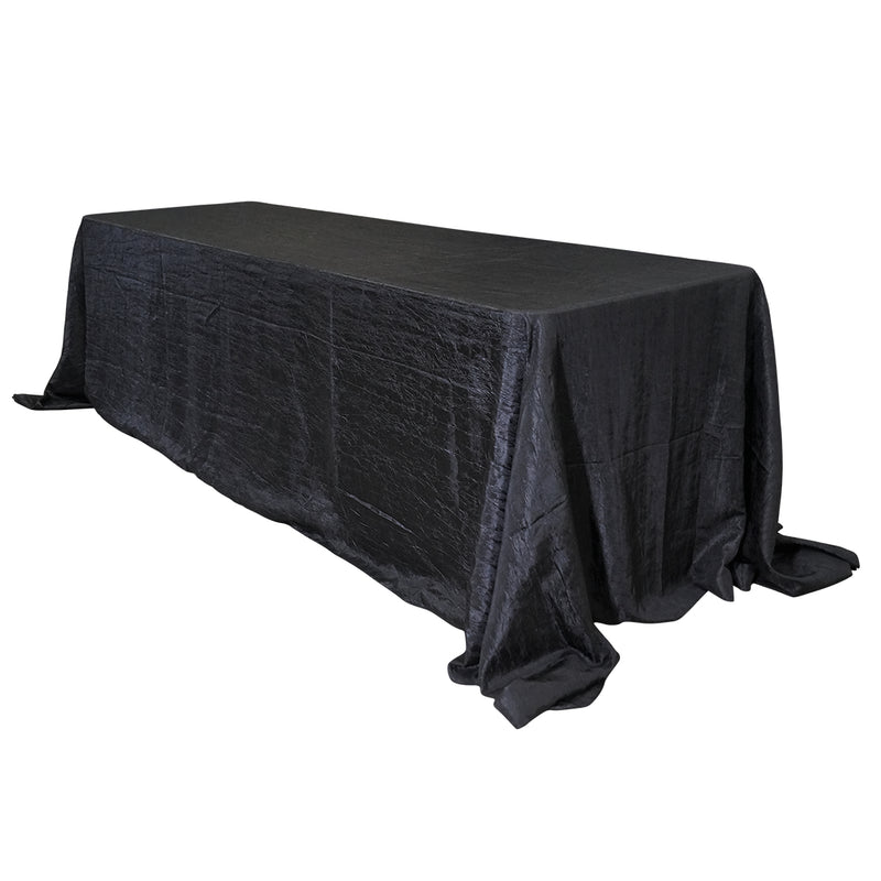 "Economy Crush Taffeta 90""x156"" Rectangular Tablecloth - Black"