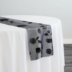 Lily Petal Table Runner in Black