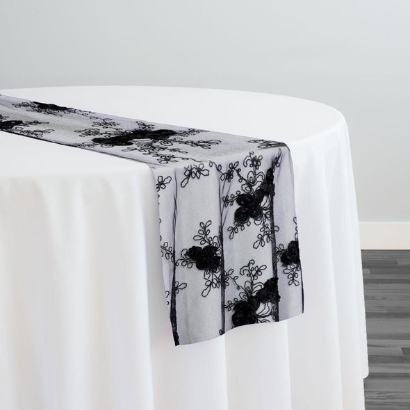 Baby Rose Embroidery Table Runner in Black