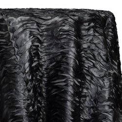 Austrian Wave Satin Table Linen in Black