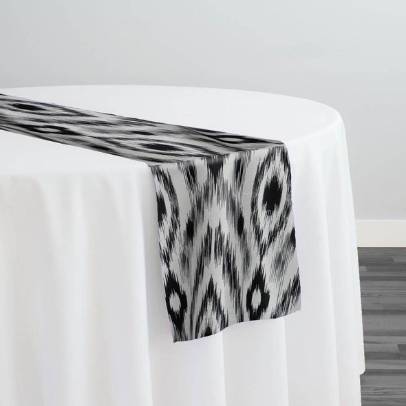 Cosmo Print (Dupioni) Table Runner in Black