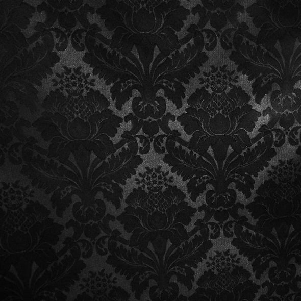 Damask Poly Wholesale Fabric in Black