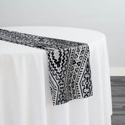 Aztec Print (Dupioni) Table Runner in Black